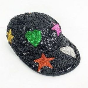 Sequin City Vintage Heart Star Sequined Hat